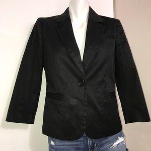 Club Monaco Black Silky Padded Buttoned Blazer